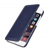 Кожаный чехол горизонтальная книжка (нат. кожа) с защелкой для Iphone 6 Синий