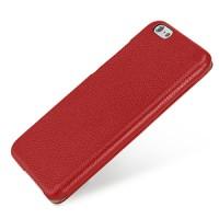 Кожаный чехол горизонтальная книжка (нат. кожа) с защелкой для Iphone 6 Красный