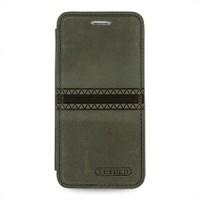 Кожаный чехол горизонтальная книжка (нат. кожа с вощеным покрытием) с ручной кожаной отделкой Sew Line для Iphone 6 Серый