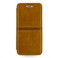 Кожаный чехол горизонтальная книжка (нат. кожа с вощеным покрытием) с ручной кожаной отделкой Sew Line для Iphone 6 Оранжевый