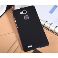 Пластиковый матовый нескользящий премиум чехол для Huawei Ascend Mate 7 Черный