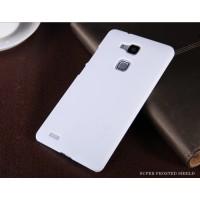 Пластиковый матовый нескользящий премиум чехол для Huawei Ascend Mate 7 Белый