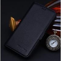 Кожаный чехол портмоне (нат. кожа) для Huawei Ascend Mate 7 Черный