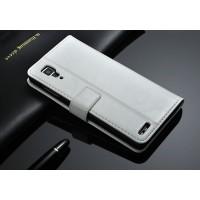 Глянцевый чехол портмоне подставка с застежкой назад для Lenovo P780 Белый