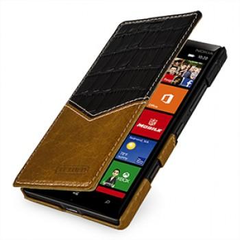 Кожаный чехол горизонтальная книжка (2 вида нат. кожи) ручной работы для Nokia Lumia 930