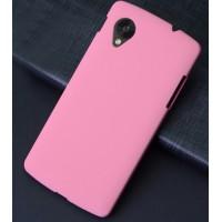 Пластиковый матовый чехол с повышенной шероховатостью для Google Nexus 5 Розовый