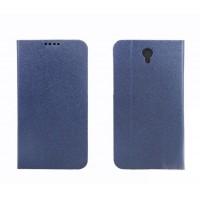Текстурный чехол флип подставка с отделениями для Alcatel One Touch Idol 2 Синий