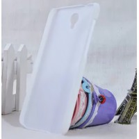 Пластиковый матовый металлик чехол для Alcatel One Touch Idol 2 Белый