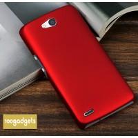 Пластиковый матовый металлик чехол для Philips W8510 Xenium Красный