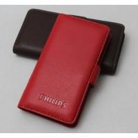 Кожаный чехол портмоне (нат. кожа) с крепежной застежкой для Philips W8510 Xenium Красный