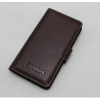 Кожаный чехол портмоне (нат. кожа) с крепежной застежкой для Philips W8510 Xenium Коричневый