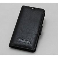 Кожаный чехол портмоне (нат. кожа) с крепежной застежкой для Philips W8510 Xenium Черный