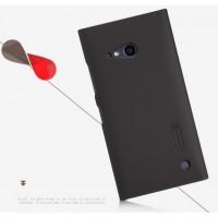 Пластиковый матовый нескользящий премиум чехол для Nokia Lumia 730/735 Коричневый