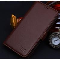 Кожаный чехол горизонтальная книжка (нат. кожа) с крепежной застежкой для Xiaomi Mi4 Коричневый