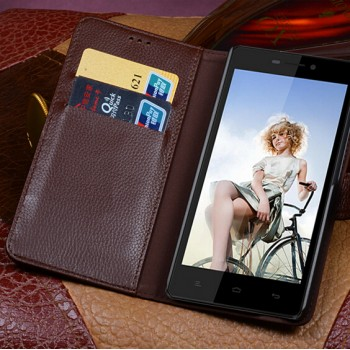 Кожаный чехол портмоне (нат. кожа) с крепежной застежкой для Fly IQ4501 EVO Energie 4 Quad