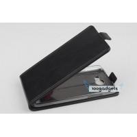 Кожаный чехол вертикальная книжка на прозрачной пластиковой основедля Fly IQ4503 Era Life 6 Черный