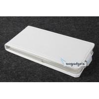 Кожаный чехол вертикальная книжка на прозрачной пластиковой основедля Fly IQ4503 Era Life 6 Белый