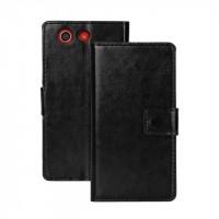 Чехол портмоне подставка с защелкой глянцевый для Sony Xperia Z3 Compact Черный