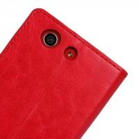 Чехол портмоне подставка с защелкой глянцевый для Sony Xperia Z3 Compact Красный