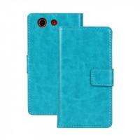 Чехол портмоне подставка с защелкой глянцевый для Sony Xperia Z3 Compact Голубой