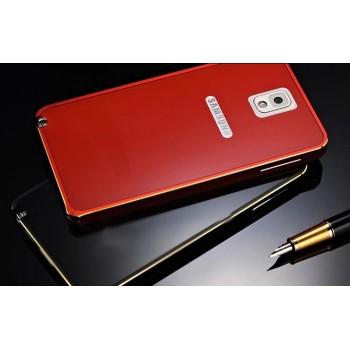 Двухкомпонентный премиум чехол с металлическим бампером с золотой окантовкой и поликарбонатной накладкой для Samsung Galaxy Note 4