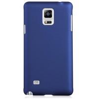Пластиковый матовый грязестойкий чехол Металлик для Samsung Galaxy Note 4 Синий