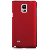 Пластиковый матовый грязестойкий чехол Металлик для Samsung Galaxy Note 4 Красный