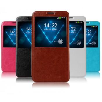 Чехол флип-подставка с окном вызова (глянцевая кожа) для Samsung Galaxy Note 4