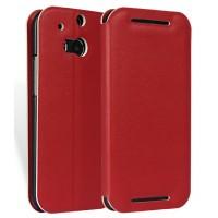 Чехол флип-подставка из прессованной кожи для HTC One (M8) Красный