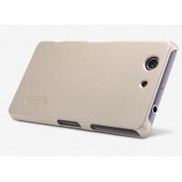 Пластиковый матовый нескользящий премиум чехол для Sony Xperia Z3 Compact Бежевый