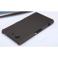 Пластиковый матовый нескользящий премиум чехол для Sony Xperia Z3 Compact Коричневый