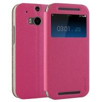Чехол флип-подставка с окном вызова для HTC One (M8) Розовый