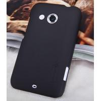 Пластиковый матовый нескользящий премиум чехол для HTC Desire 200 Черный