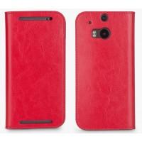 Премиум чехол-портмоне из вощеной кожи для HTC One (M8) Красный