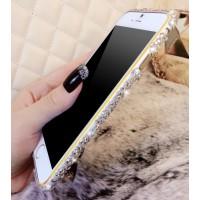 Металлический бампер с аппликацией стразами ручной работы для Iphone 6 Plus Белый