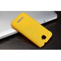 Пластиковый матовый металлик чехол для Alcatel One Touch Pop C7 Желтый
