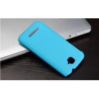 Пластиковый матовый металлик чехол для Alcatel One Touch Pop C7 Голубой