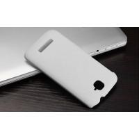 Пластиковый матовый металлик чехол для Alcatel One Touch Pop C7 Белый