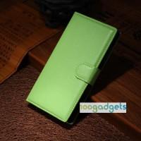 Чехол портмоне подставка с защелкой для Alcatel One Touch Idol Alpha Зеленый