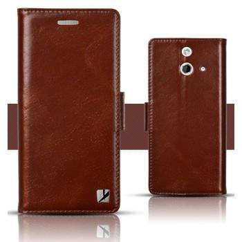 Кожаный чехол горизонтальная книжка (вощеная кожа) с крепежной застежкой для HTC One E8