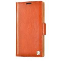 Кожаный чехол горизонтальная книжка (вощеная кожа) с крепежной застежкой для HTC One E8 Оранжевый