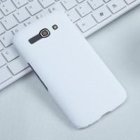 Пластиковый матовый чехол металлик для Alcatel One Touch Pop C9 Белый