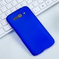 Пластиковый матовый чехол металлик для Alcatel One Touch Pop C9 Синий