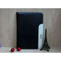 Кожаный чехол с рамочной защитой, креплением для кисти и слотами для карт для Ipad Air 2 Черный
