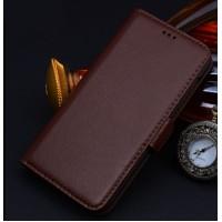 Кожаный чехол портмоне (нат. кожа) для Sony Xperia M2 Aqua Коричневый