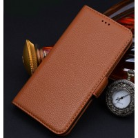 Кожаный чехол портмоне (нат. кожа) для Sony Xperia M2 Aqua Бежевый