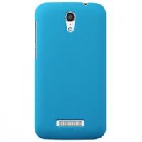 Пластиковый матовый металлик чехол для Alcatel One Touch Pop S7 Голубой