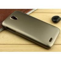 Пластиковый металлик чехол для Lenovo A859 Ideaphone Бежевый