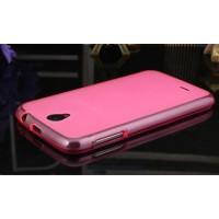 Силиконовый матовый полупрозрачный чехол для Lenovo A859 Ideaphone Розовый
