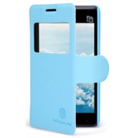 Чехол книжка с окном вызова для Sony Xperia E1 Голубой